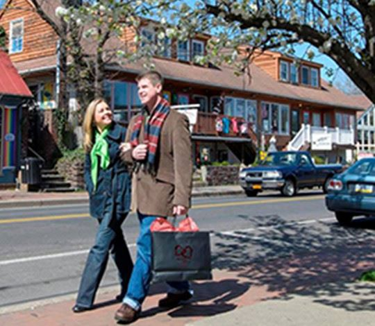 Young professional couple with shopping bags